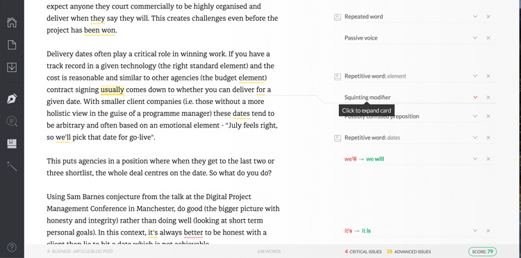 the grammarly web interface