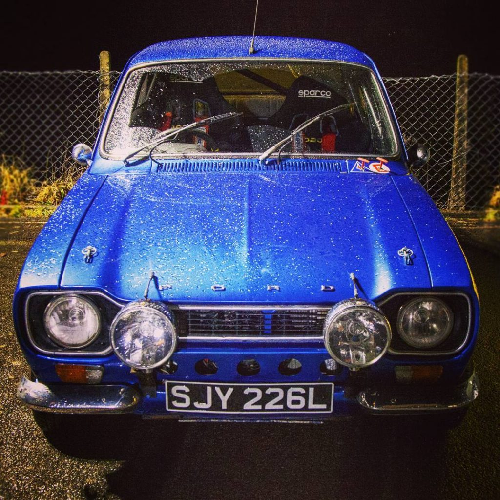 Blue Mkii Ford Escort registration SJY 226L