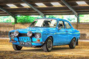 Blue Ford Escort Rally Car