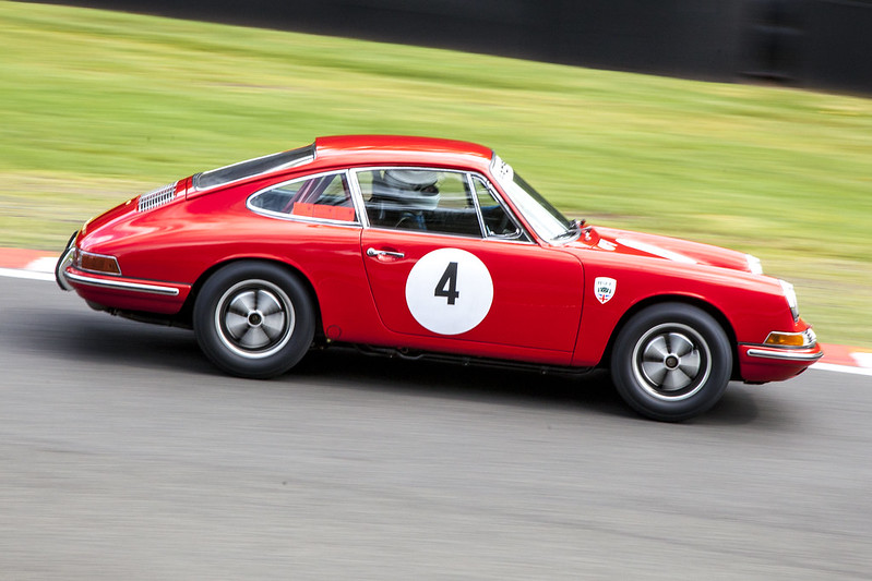 1965 Classic Porsche 911 at Lodge Corner During Oulton Park's Gold Cup
