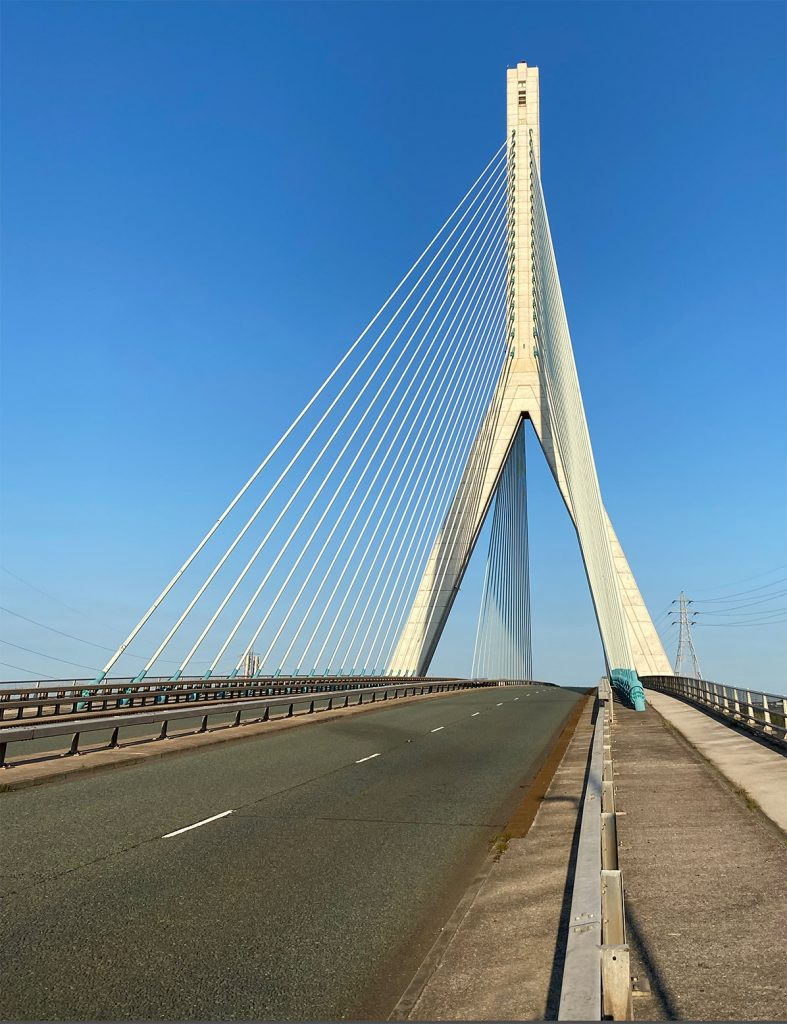 Cycling over the Flintshire Bridge