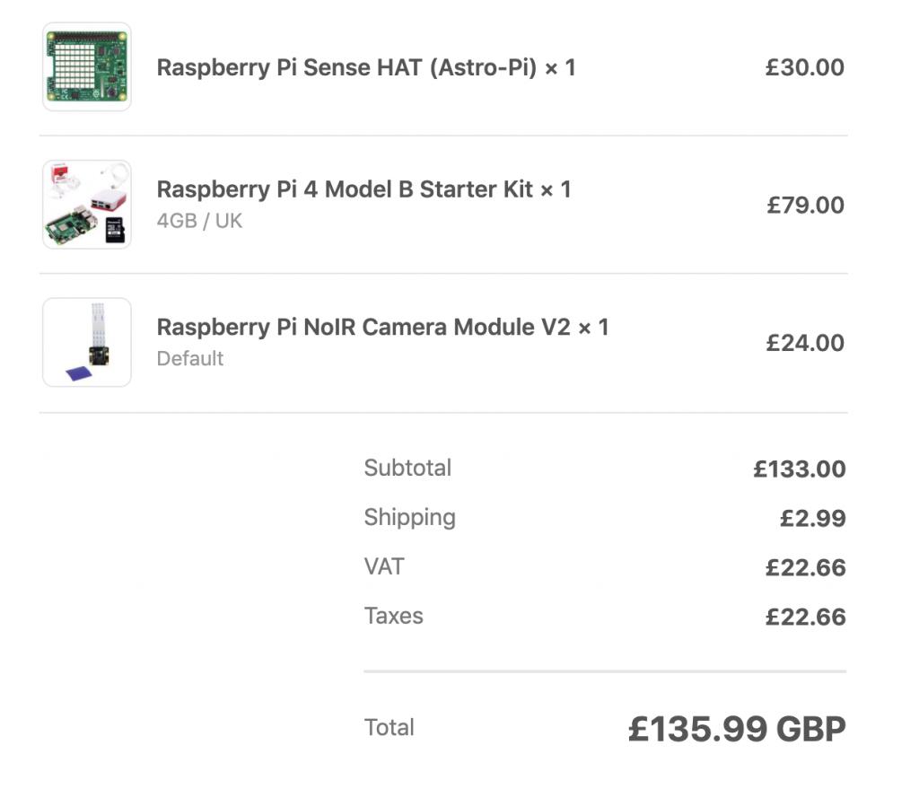 Raspberry Pi 4 Model B Starter Kit, Noir 2 Camera and Sense HAT