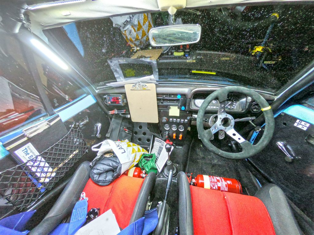 Taken with a Wide Angle GoPro - the inside of a Ford Escort Mkii Rally Car.